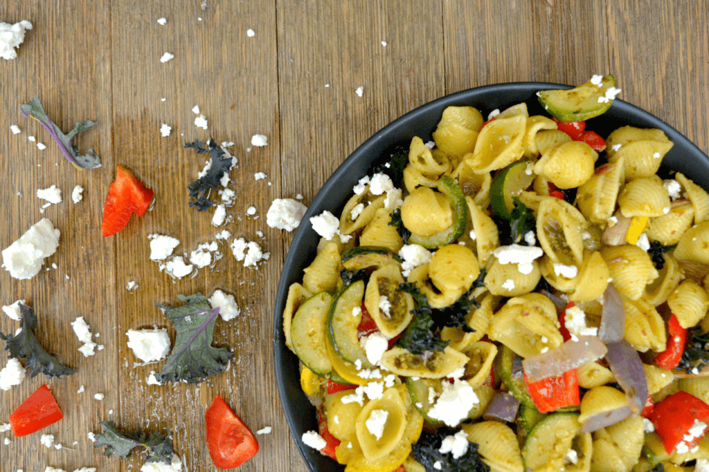 Pesto Pasta with Roasted Vegetables and Feta cheese