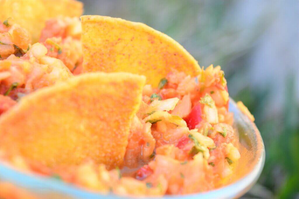 low potassium red pepper pico de gallo with tortilla chips