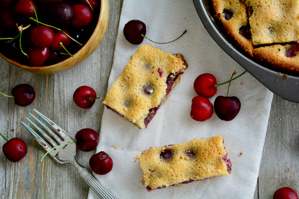 Low potassium, low sodium cherry brown butter with crunchy shortbread crust on white napkin.