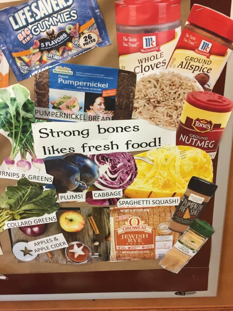 I love this Halloween bulletin board for dialysis unit that shows ways to keep bones healthy | low phosphorus | renal diet