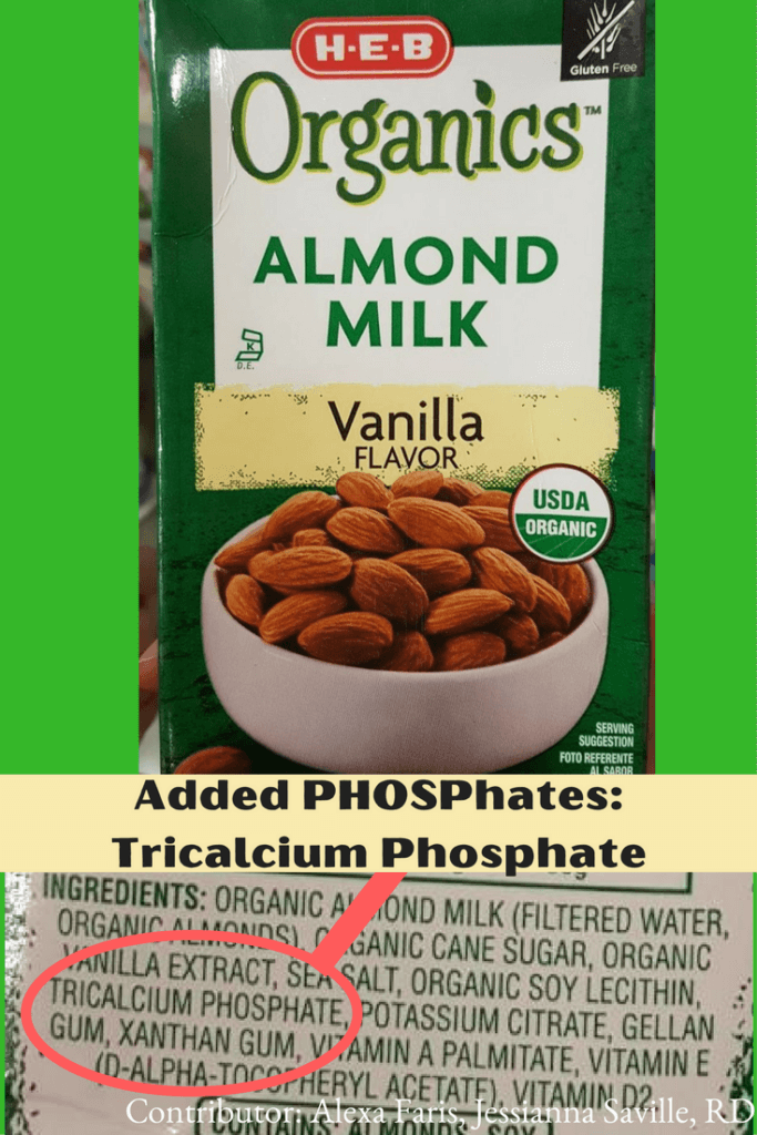 Almond Milk WITH Added PHOSPhates |renal diet|