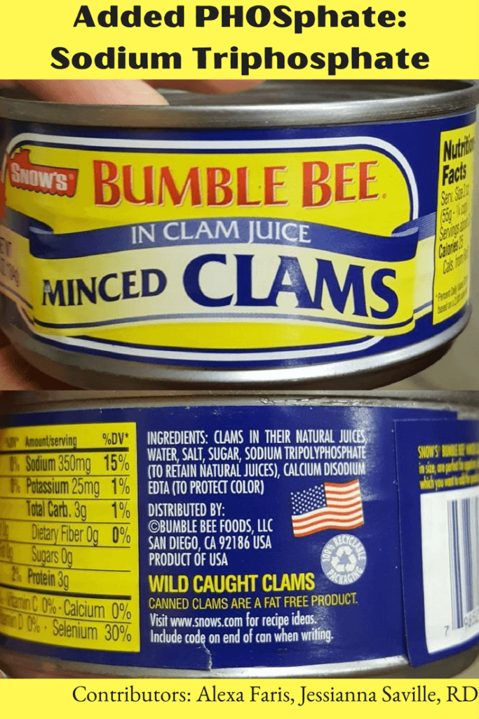 Canned Clams WITH Added PHOSphate- Sodium Triphosphate |renal diet| high phosphorus