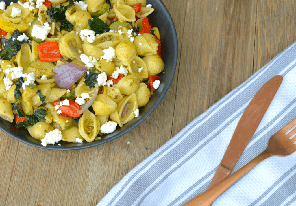 Pesto Pasta with Colorful roasted vegetables and feta cheese
