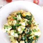 renal diet breakfast dish for loaded veggie eggs on striped cloth