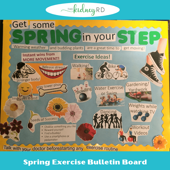 spring exercise bulletin board on pale blue background with yellow border