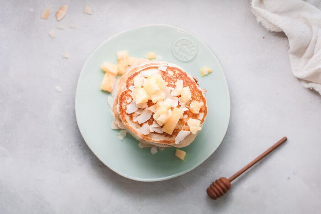 Top view vegan coconut pancakes