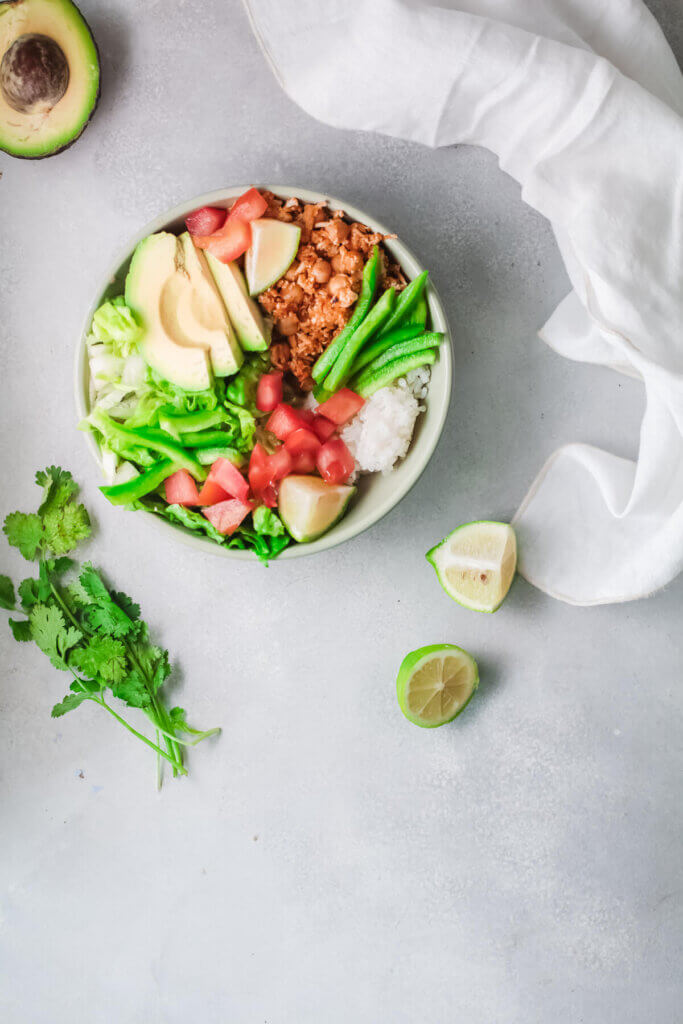 vegan taco breakfast bowl with cilantro and lime-CKD